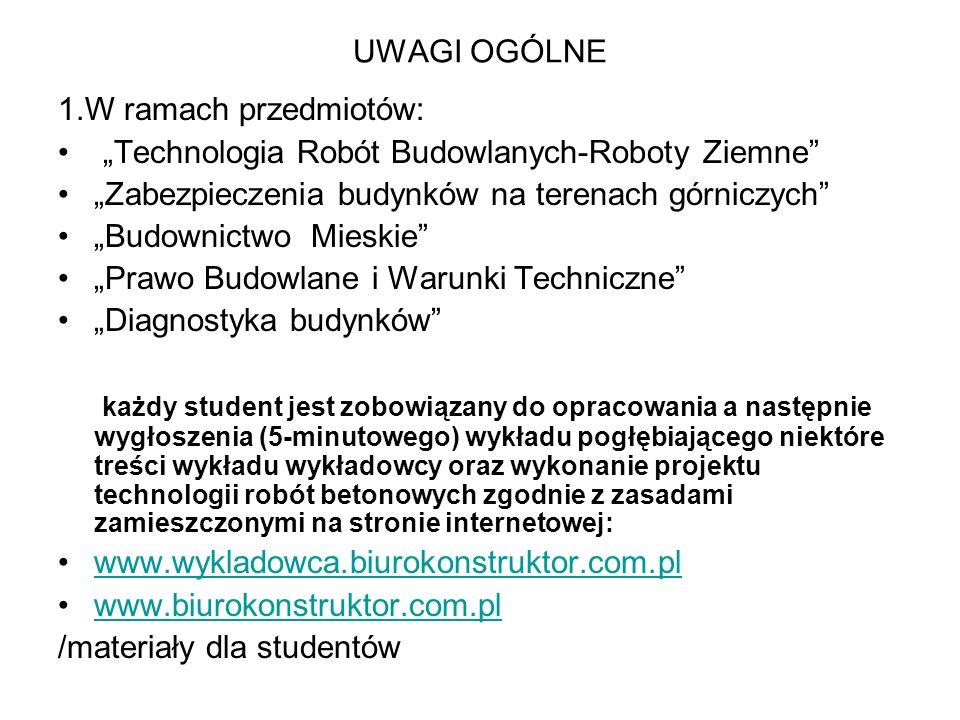 UWAGI OGÓLNE 1.W ramach przedmiotów: Technologia Robót Budowlanych-Roboty Ziemne Zabezpieczenia budynków na terenach górniczych Budownictwo Mieskie Pr