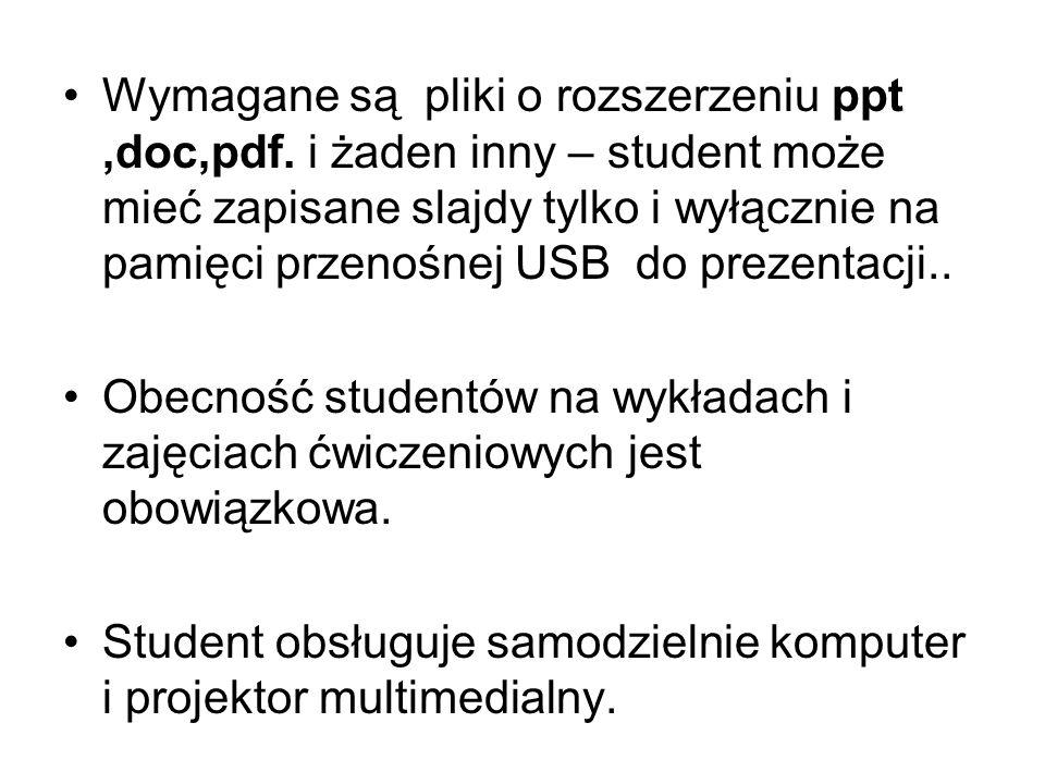 Wymagane są pliki o rozszerzeniu ppt,doc,pdf. i żaden inny – student może mieć zapisane slajdy tylko i wyłącznie na pamięci przenośnej USB do prezenta