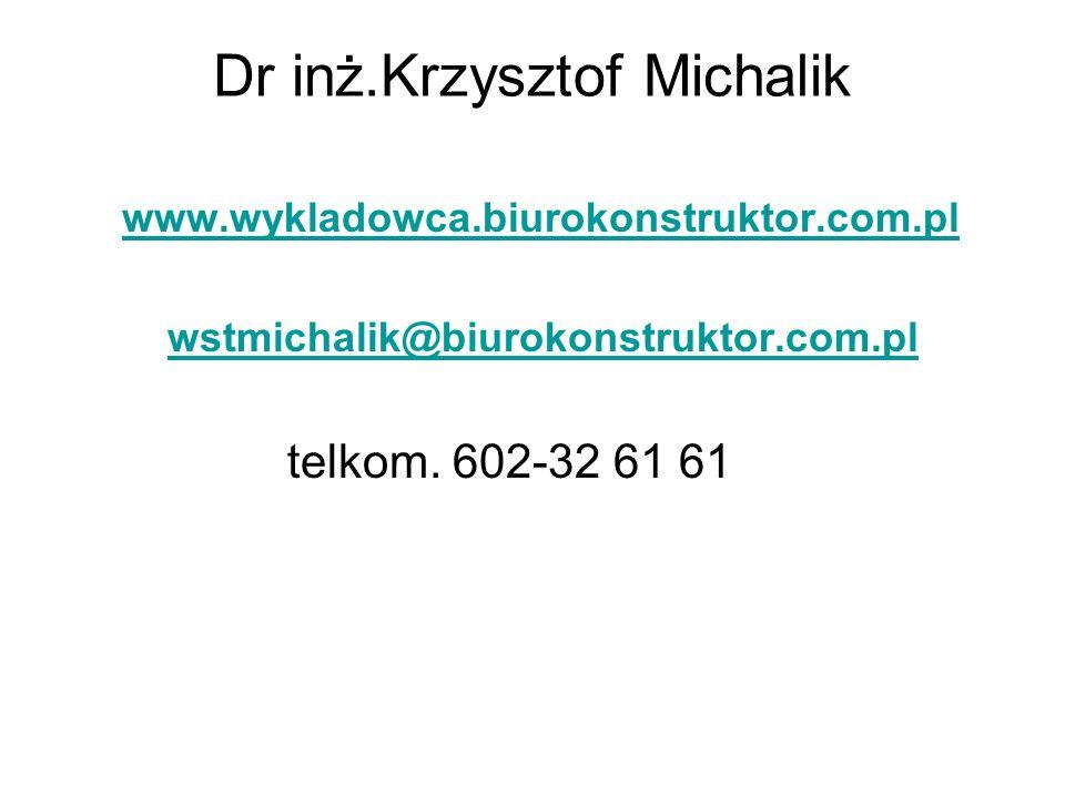 Dr inż.Krzysztof Michalik www.wykladowca.biurokonstruktor.com.pl wstmichalik@biurokonstruktor.com.pl telkom. 602-32 61 61