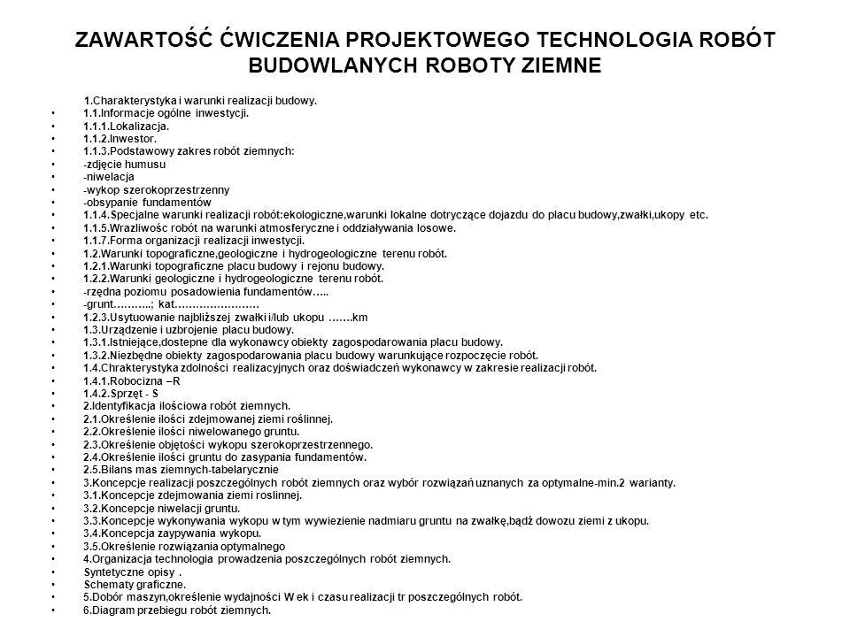 ZAWARTOŚĆ ĆWICZENIA PROJEKTOWEGO TECHNOLOGIA ROBÓT BUDOWLANYCH ROBOTY ZIEMNE 1.Charakterystyka i warunki realizacji budowy. 1.1.Informacje ogólne inwe