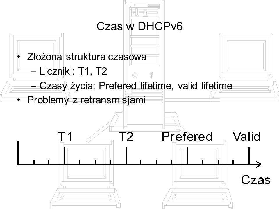 Czas w DHCPv6 Złożona struktura czasowa –Liczniki: T1, T2 –Czasy życia: Prefered lifetime, valid lifetime Problemy z retransmisjami