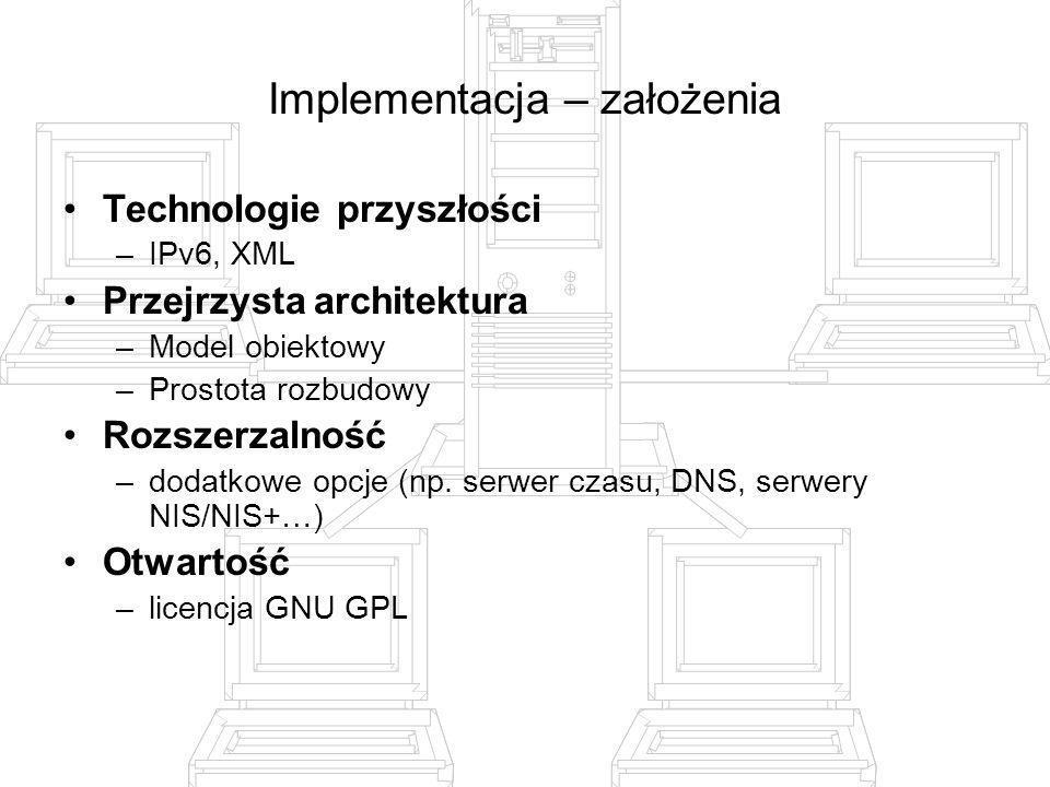 Implementacja – założenia Technologie przyszłości –IPv6, XML Przejrzysta architektura –Model obiektowy –Prostota rozbudowy Rozszerzalność –dodatkowe o