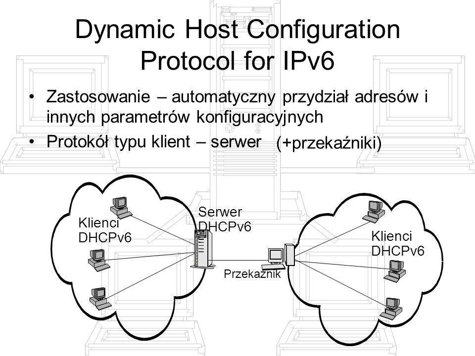 Dynamic Host Configuration Protocol for IPv6 Zastosowanie – automatyczny przydział adresów i innych parametrów konfiguracyjnych Protokół typu klient –