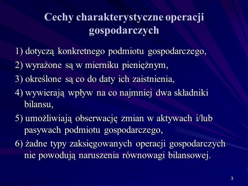 4 Kryteria klasyfikacyjne operacji gospodarczych Lp.