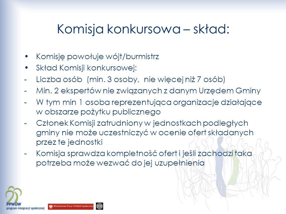 Komisja konkursowa – skład: Komisję powołuje wójt/burmistrz Skład Komisji konkursowej: -Liczba osób (min.