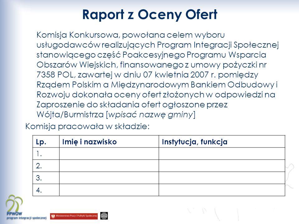 Raport z Oceny Ofert Komisja Konkursowa, powołana celem wyboru usługodawców realizujących Program Integracji Społecznej stanowiącego część Poakcesyjnego Programu Wsparcia Obszarów Wiejskich, finansowanego z umowy pożyczki nr 7358 POL, zawartej w dniu 07 kwietnia 2007 r.