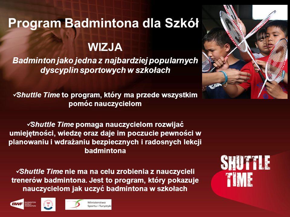 Program Badmintona dla Szkół WIZJA Badminton jako jedna z najbardziej popularnych dyscyplin sportowych w szkołach Shuttle Time to program, który ma pr