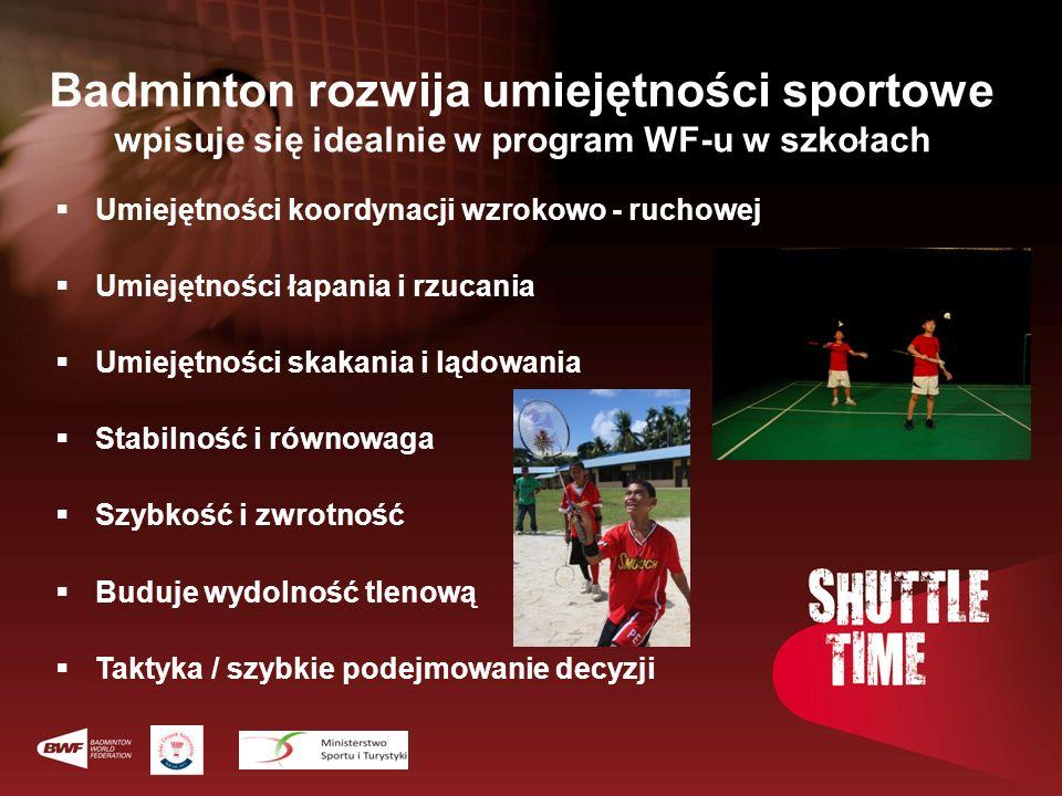 Badminton rozwija umiejętności sportowe wpisuje się idealnie w program WF-u w szkołach Umiejętności koordynacji wzrokowo - ruchowej Umiejętności łapan