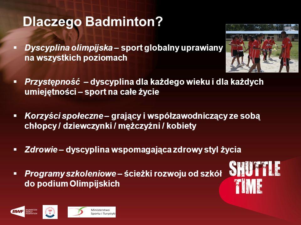 Dlaczego Badminton? Dyscyplina olimpijska – sport globalny uprawiany na wszystkich poziomach Przystępność – dyscyplina dla każdego wieku i dla każdych