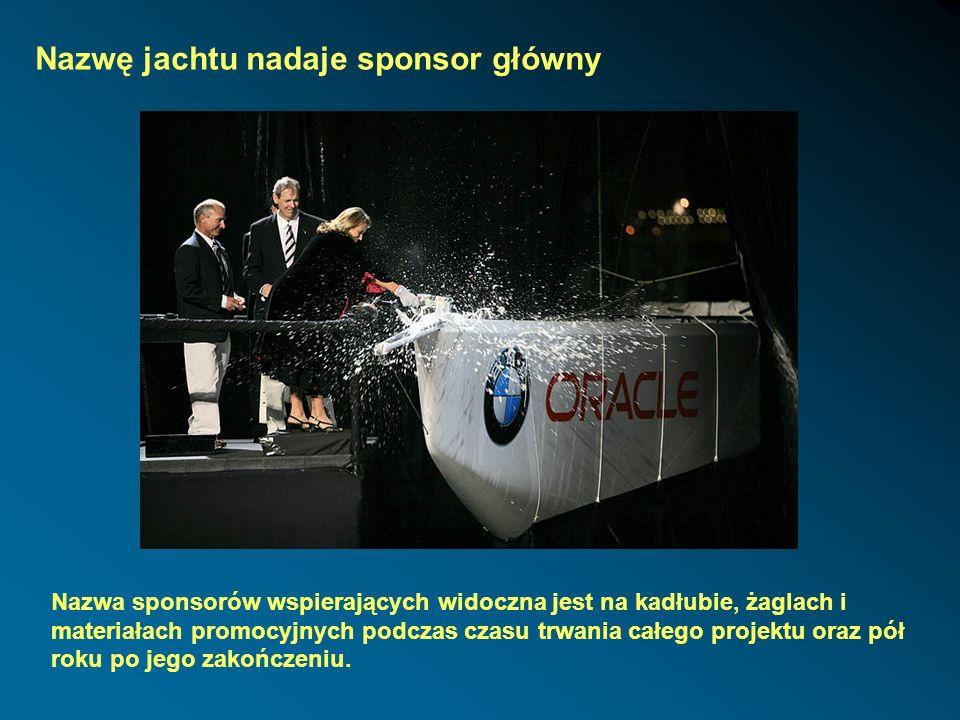 Nazwę jachtu nadaje sponsor główny Nazwa sponsorów wspierających widoczna jest na kadłubie, żaglach i materiałach promocyjnych podczas czasu trwania c