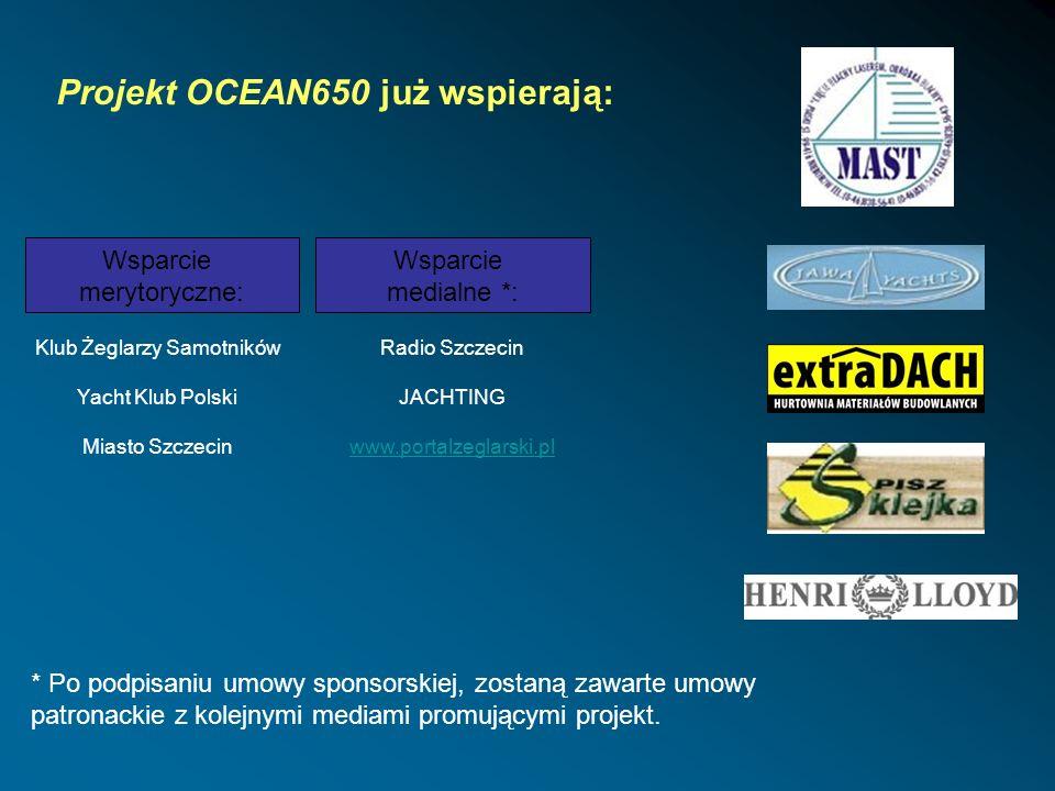 Projekt OCEAN650 już wspierają: Wsparcie merytoryczne: Klub Żeglarzy Samotników Yacht Klub Polski Miasto Szczecin Wsparcie medialne *: Radio Szczecin