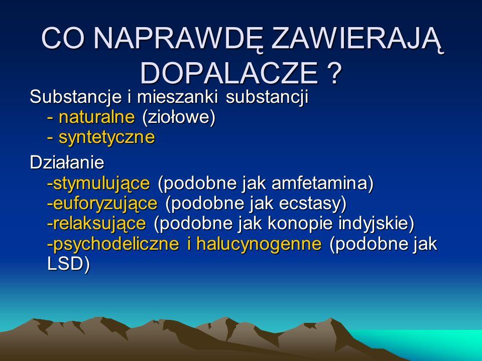 Substancje i mieszanki substancji - naturalne (ziołowe) - syntetyczne Działanie -stymulujące (podobne jak amfetamina) -euforyzujące (podobne jak ecstasy) -relaksujące (podobne jak konopie indyjskie) -psychodeliczne i halucynogenne (podobne jak LSD) CO NAPRAWDĘ ZAWIERAJĄ DOPALACZE