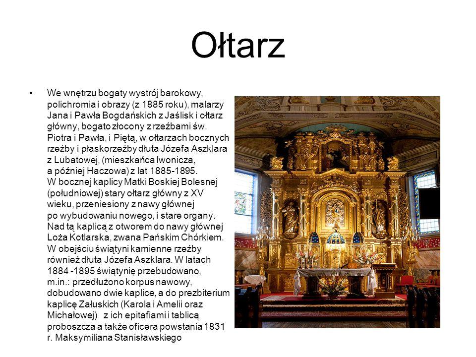 Ołtarz We wnętrzu bogaty wystrój barokowy, polichromia i obrazy (z 1885 roku), malarzy Jana i Pawła Bogdańskich z Jaślisk i ołtarz główny, bogato złoc