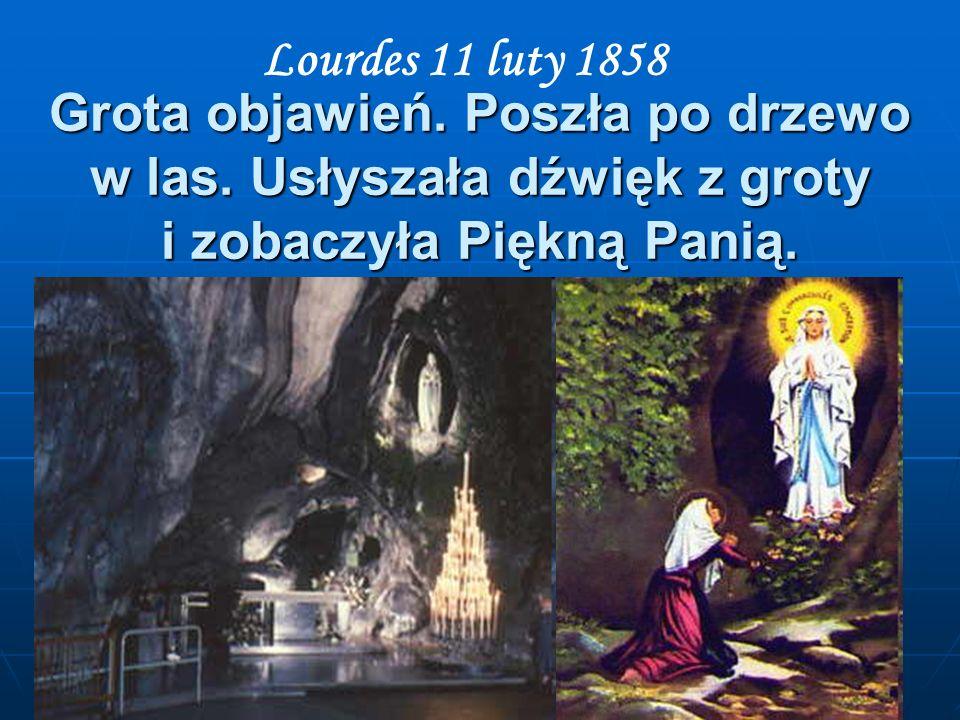 Grota objawień. Poszła po drzewo w las. Usłyszała dźwięk z groty i zobaczyła Piękną Panią. Lourdes 11 luty 1858