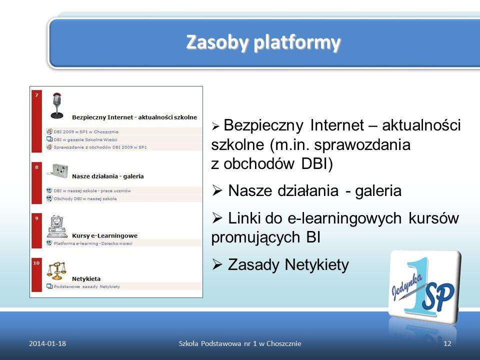 Zasoby platformy 2014-01-1812Szkoła Podstawowa nr 1 w Choszcznie Bezpieczny Internet – aktualności szkolne (m.in. sprawozdania z obchodów DBI) Nasze d