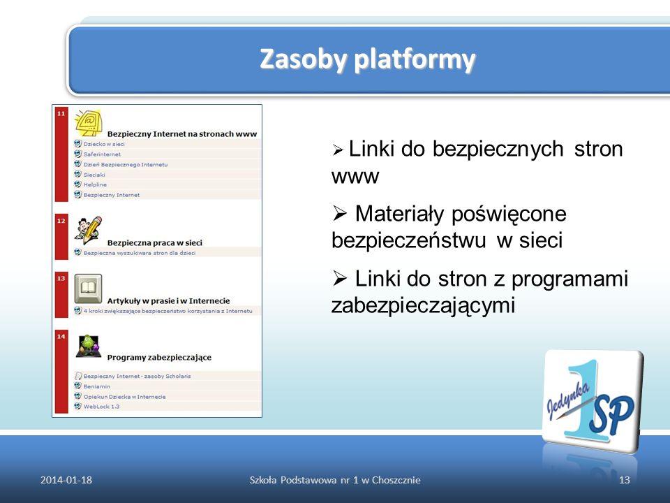 Zasoby platformy 2014-01-1813Szkoła Podstawowa nr 1 w Choszcznie Linki do bezpiecznych stron www Materiały poświęcone bezpieczeństwu w sieci Linki do