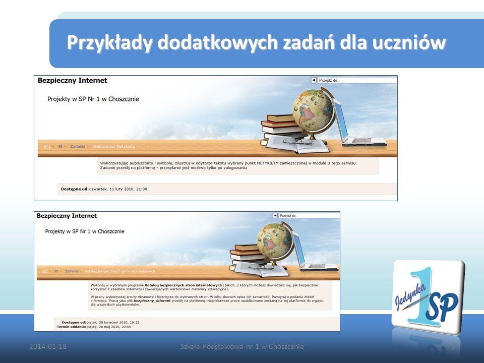 2014-01-18Szkoła Podstawowa nr 1 w Choszcznie5 Przykłady dodatkowych zadań dla uczniów