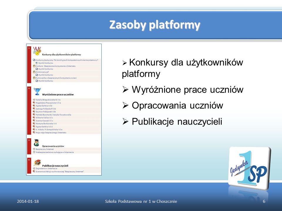Zasoby platformy 2014-01-186Szkoła Podstawowa nr 1 w Choszcznie Konkursy dla użytkowników platformy Wyróżnione prace uczniów Opracowania uczniów Publi