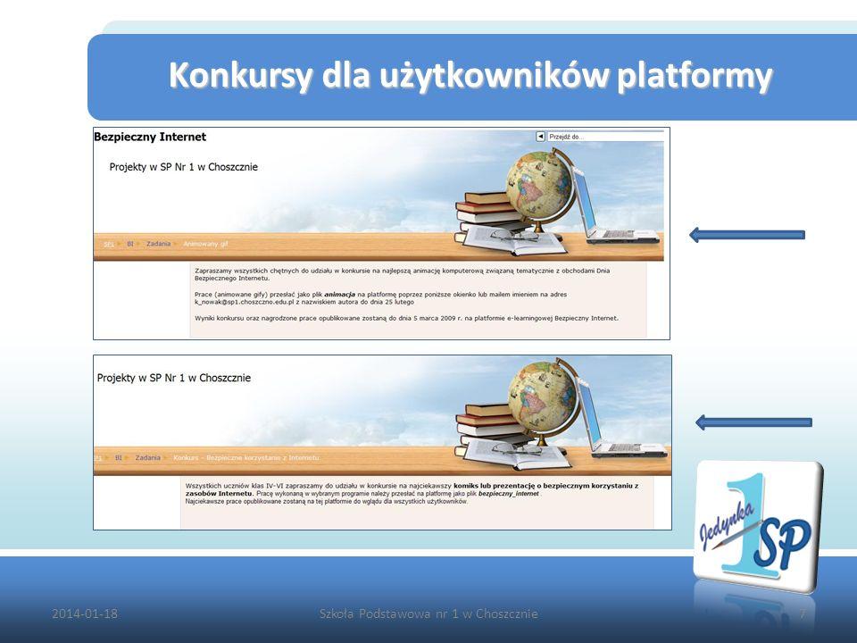 2014-01-18Szkoła Podstawowa nr 1 w Choszcznie7 Konkursy dla użytkowników platformy