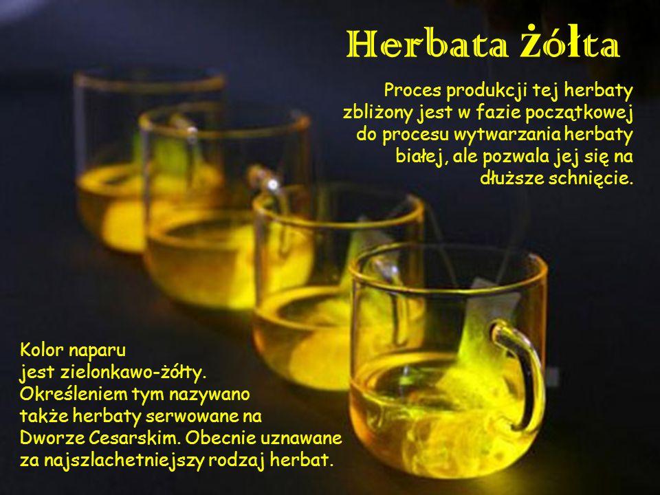 Herbata pu-erh ( ) Herbata pu-erh jest herbatą czerwoną, która przechodzi dodatkowy proces fermentacji i leżakowania.
