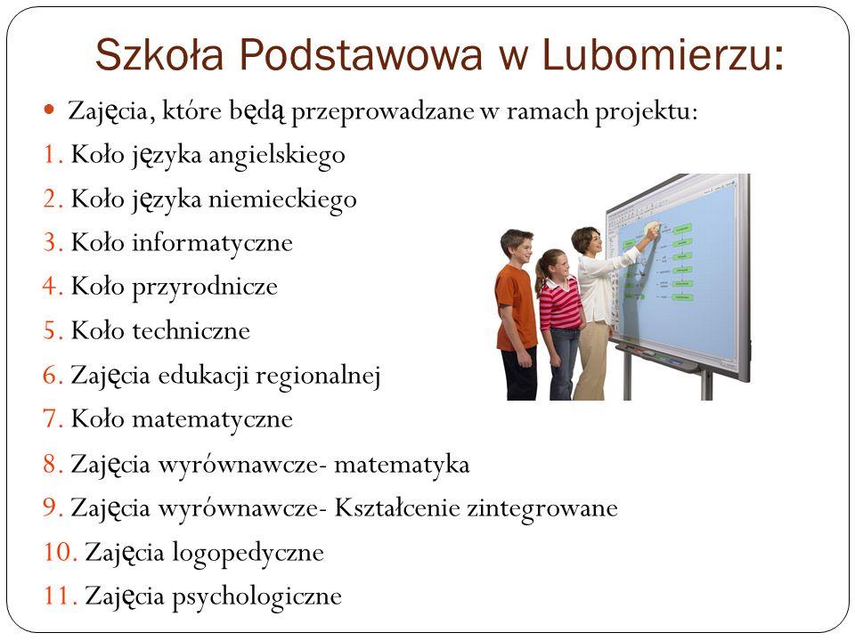 Szkoła Podstawowa w Pławnej: Zaj ę cia, które b ę d ą przeprowadzane w ramach projektu: 1.