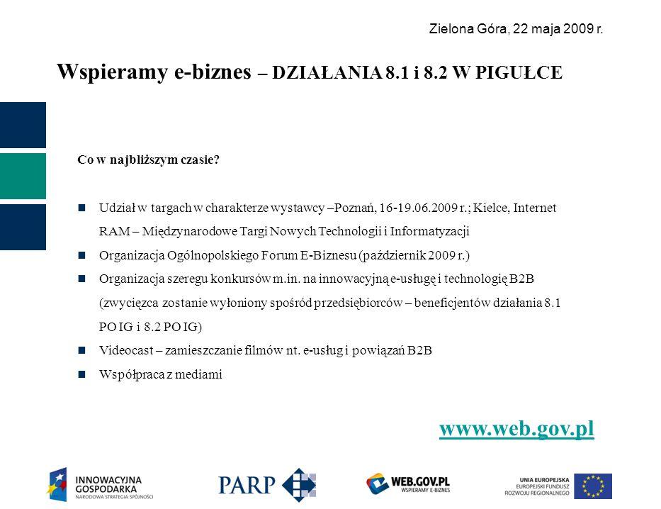 Zielona Góra, 22 maja 2009 r. Wspieramy e-biznes – DZIAŁANIA 8.1 i 8.2 W PIGUŁCE www.web.gov.pl Co w najbliższym czasie? Udział w targach w charakterz