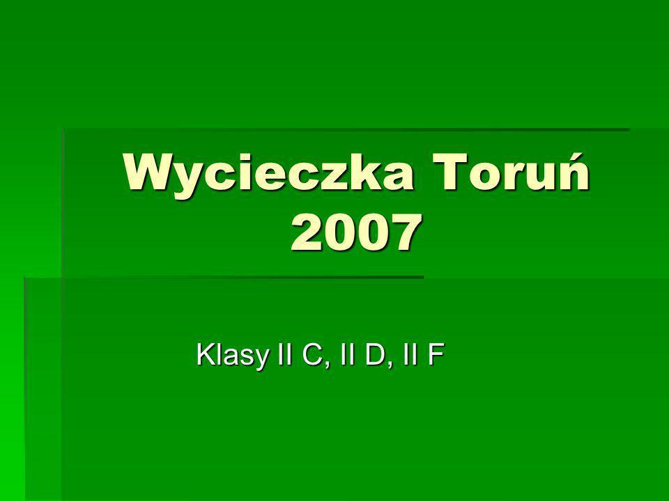 Trasa wycieczki: Tama we Włocławku Tama we Włocławku Wieża w Kruszwicy Wieża w Kruszwicy Biskupin Biskupin Toruń Toruń