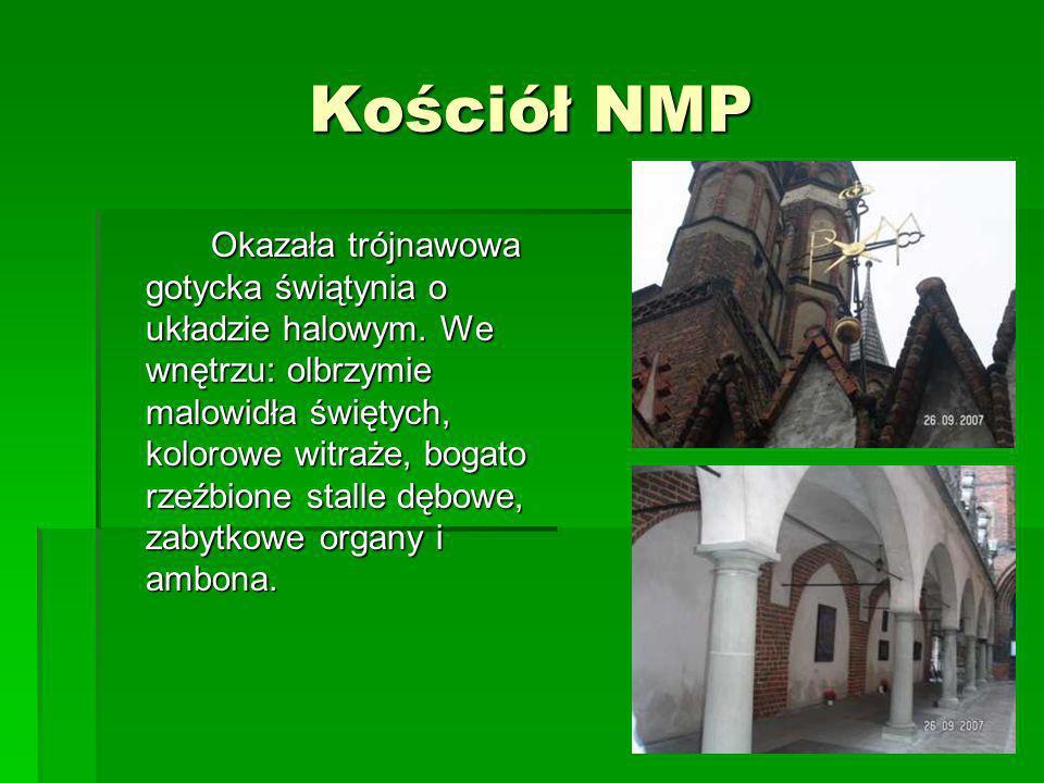Kościół NMP Okazała trójnawowa gotycka świątynia o układzie halowym. We wnętrzu: olbrzymie malowidła świętych, kolorowe witraże, bogato rzeźbione stal