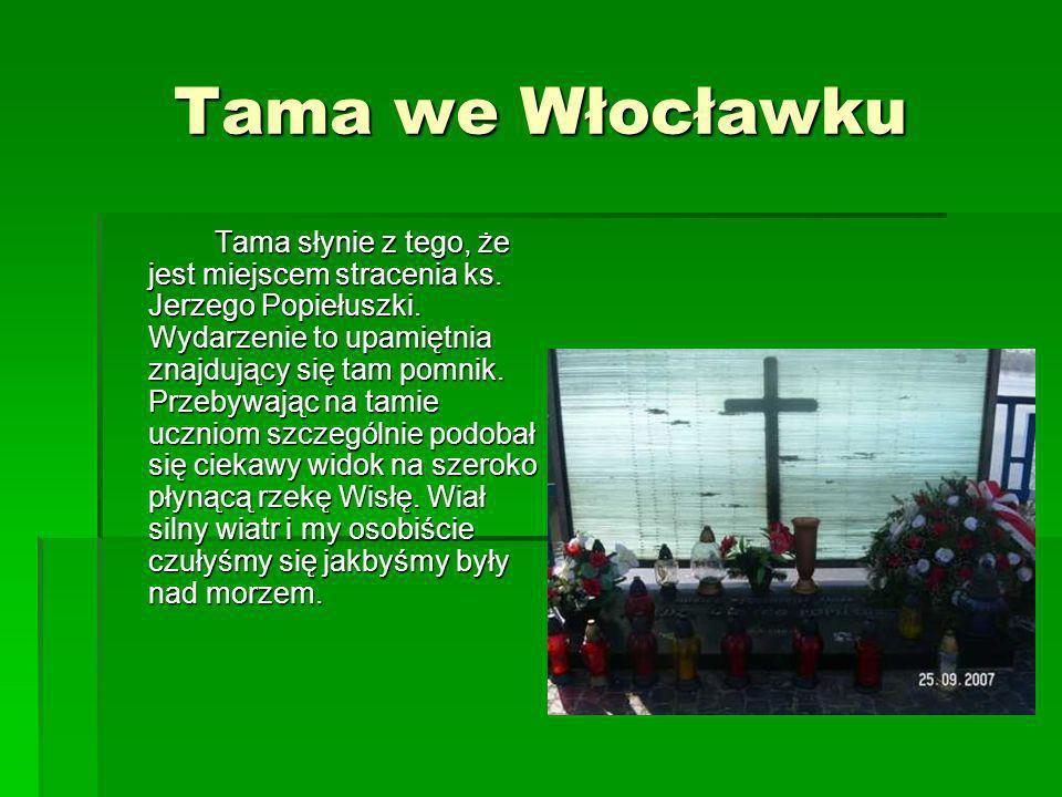 Tama we Włocławku Tama słynie z tego, że jest miejscem stracenia ks. Jerzego Popiełuszki. Wydarzenie to upamiętnia znajdujący się tam pomnik. Przebywa