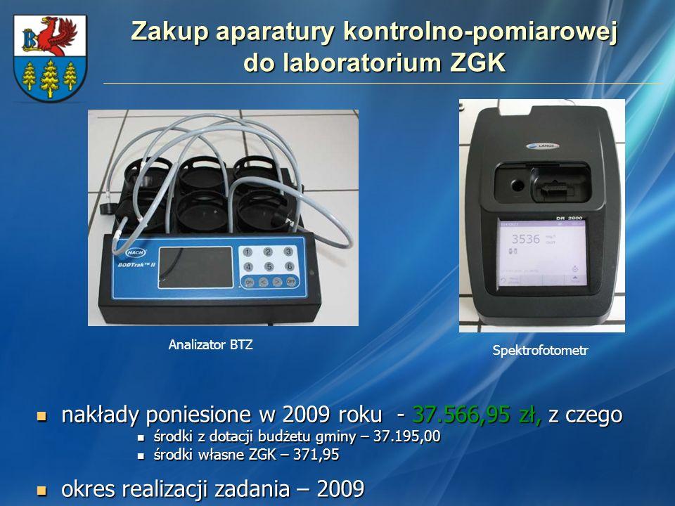 Zakup aparatury kontrolno-pomiarowej do laboratorium ZGK nakłady poniesione w 2009 roku - 37.566,95 zł, z czego nakłady poniesione w 2009 roku - 37.56