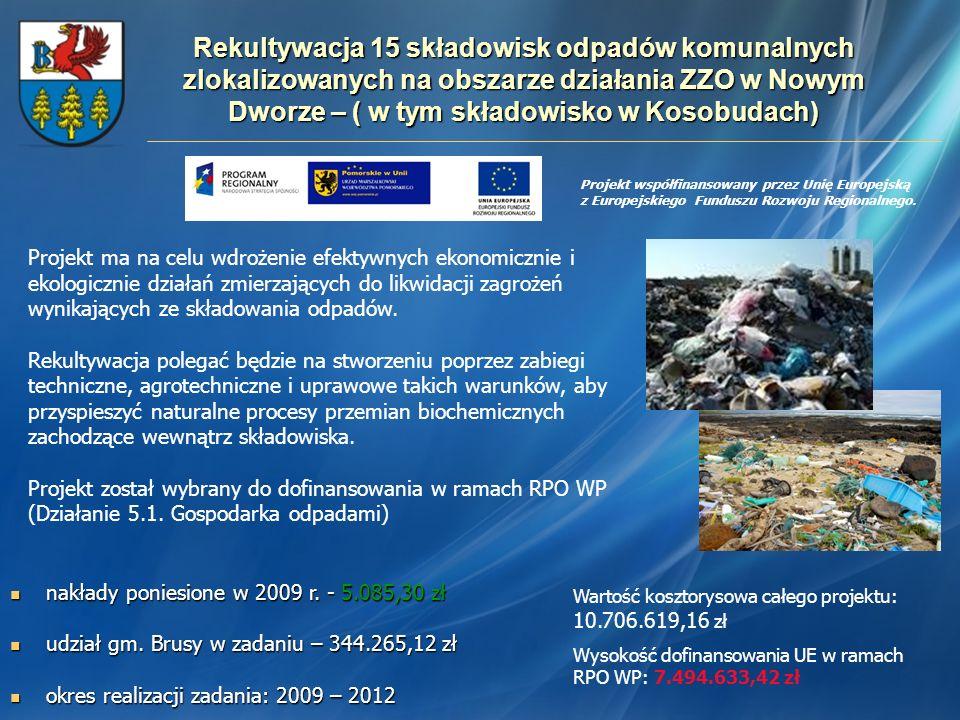 Rekultywacja 15 składowisk odpadów komunalnych zlokalizowanych na obszarze działania ZZO w Nowym Dworze – ( w tym składowisko w Kosobudach) nakłady po
