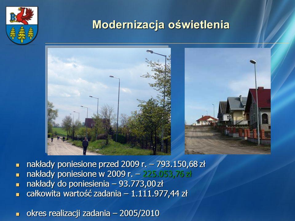 Modernizacja oświetlenia nakłady poniesione przed 2009 r. – 793.150,68 zł nakłady poniesione przed 2009 r. – 793.150,68 zł nakłady poniesione w 2009 r