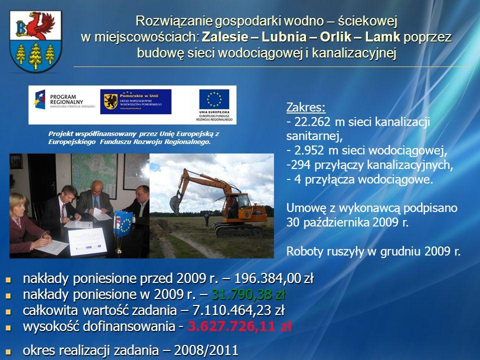 Rozwiązanie gospodarki wodno – ściekowej w miejscowościach: Zalesie – Lubnia – Orlik – Lamk poprzez budowę sieci wodociągowej i kanalizacyjnej nakłady
