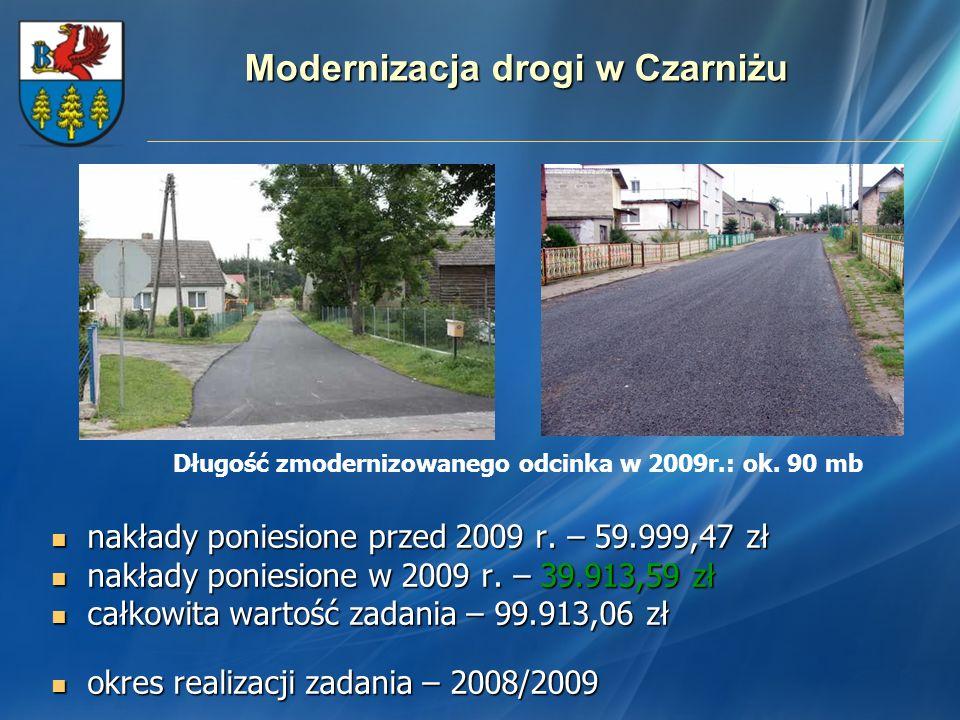 Modernizacja drogi w Czarniżu nakłady poniesione przed 2009 r. – 59.999,47 zł nakłady poniesione przed 2009 r. – 59.999,47 zł nakłady poniesione w 200