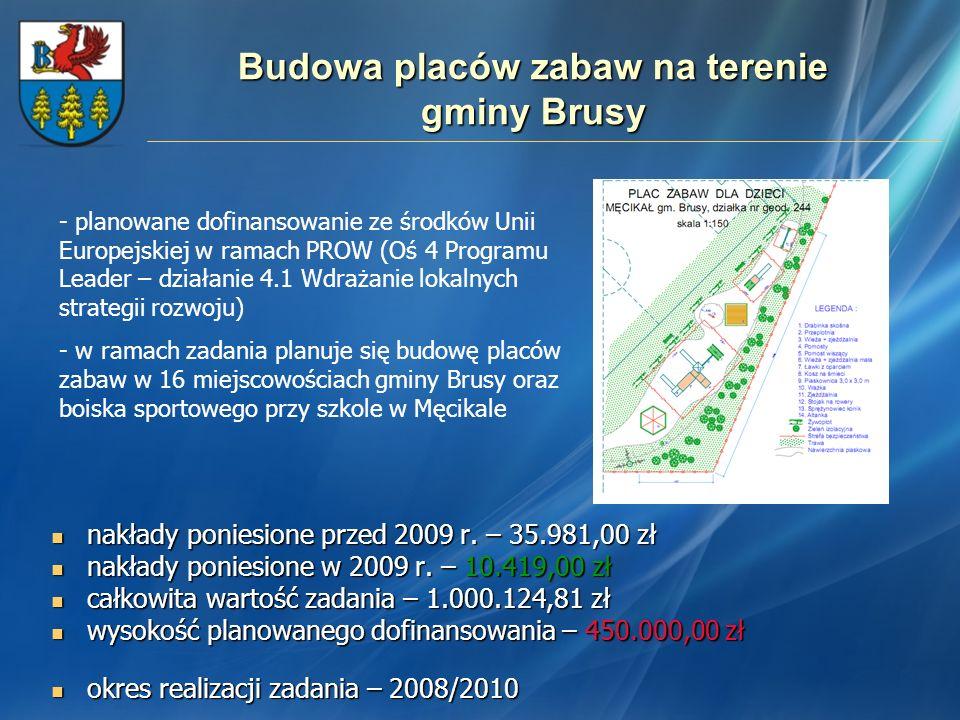 Budowa placów zabaw na terenie gminy Brusy nakłady poniesione przed 2009 r. – 35.981,00 zł nakłady poniesione przed 2009 r. – 35.981,00 zł nakłady pon