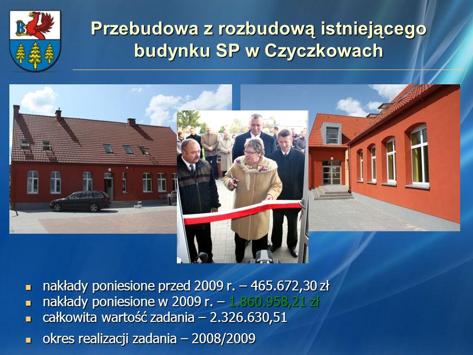 Przebudowa z rozbudową istniejącego budynku SP w Czyczkowach nakłady poniesione przed 2009 r. – 465.672,30 zł nakłady poniesione przed 2009 r. – 465.6