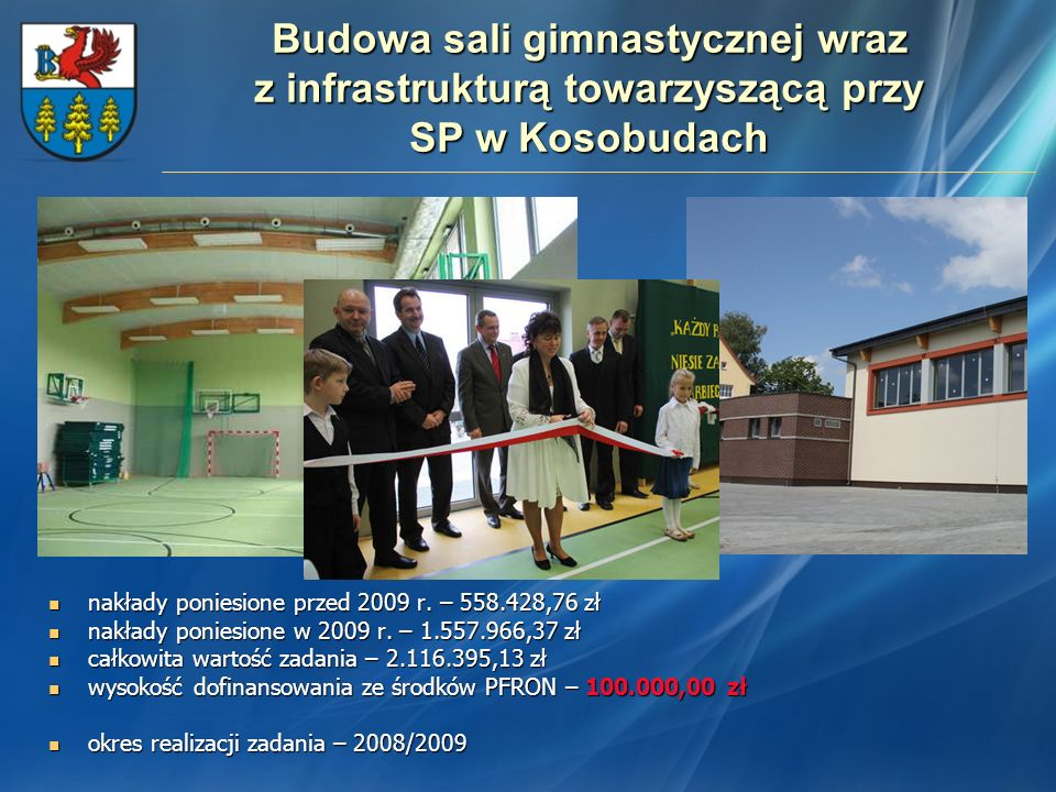 Budowa sali gimnastycznej wraz z infrastrukturą towarzyszącą przy SP w Kosobudach nakłady poniesione przed 2009 r. – 558.428,76 zł nakłady poniesione