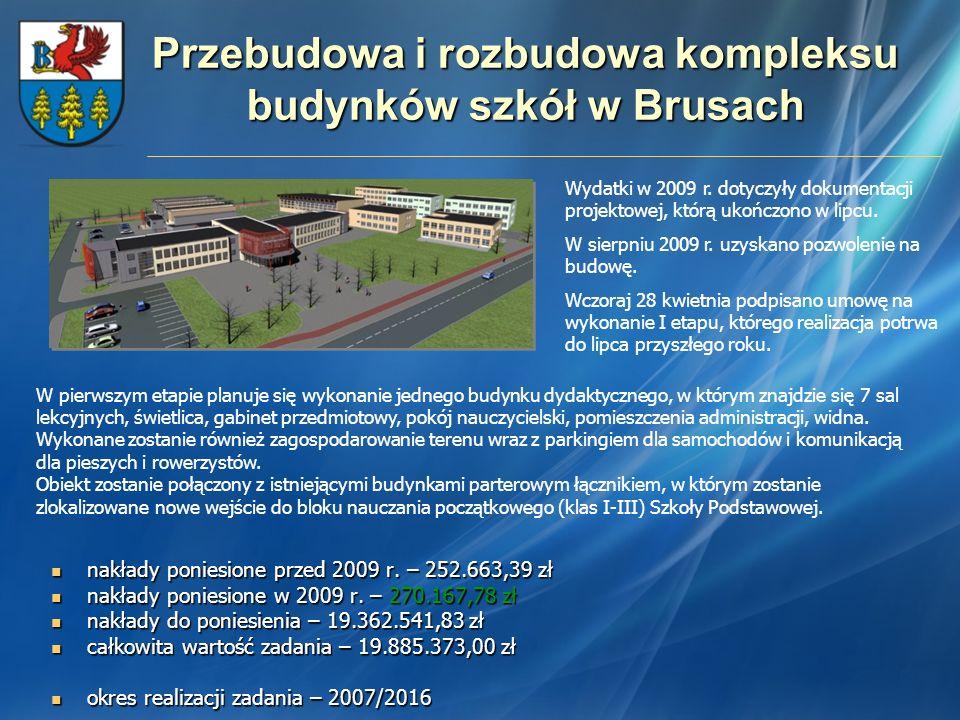 Przebudowa i rozbudowa kompleksu budynków szkół w Brusach nakłady poniesione przed 2009 r. – 252.663,39 zł nakłady poniesione przed 2009 r. – 252.663,