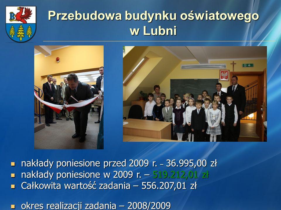 Przebudowa budynku oświatowego w Lubni nakłady poniesione przed 2009 r. – 36.995,00 zł nakłady poniesione przed 2009 r. – 36.995,00 zł nakłady poniesi