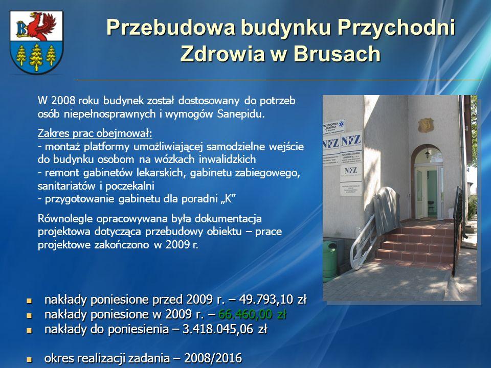 Przebudowa budynku Przychodni Zdrowia w Brusach nakłady poniesione przed 2009 r. – 49.793,10 zł nakłady poniesione przed 2009 r. – 49.793,10 zł nakład