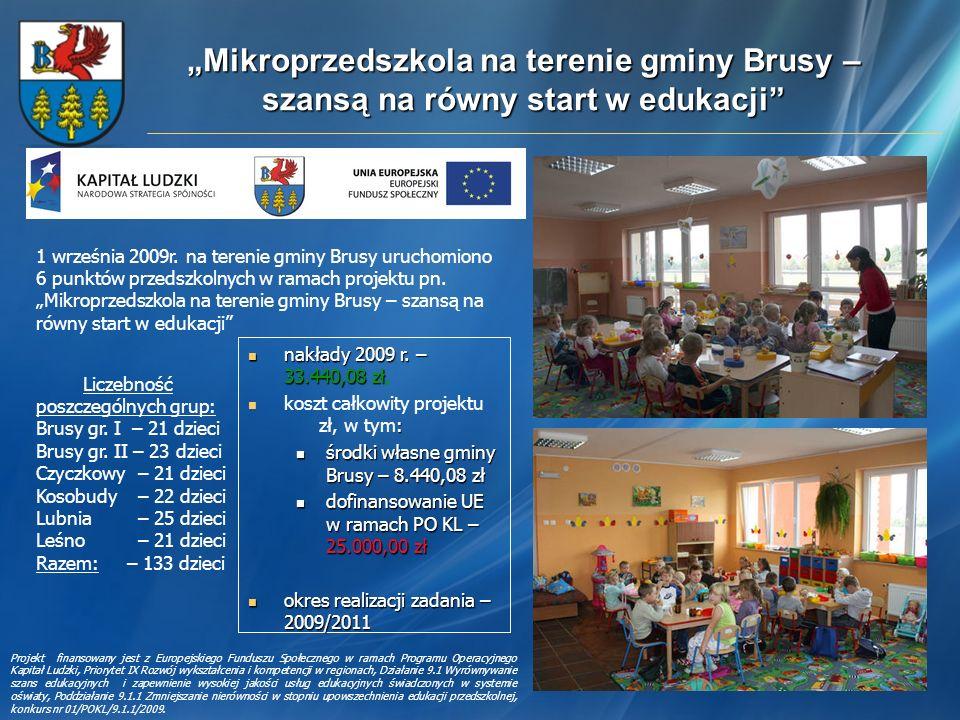 Mikroprzedszkola na terenie gminy Brusy – szansą na równy start w edukacji Liczebność poszczególnych grup: Brusy gr. I – 21 dzieci Brusy gr. II – 23 d