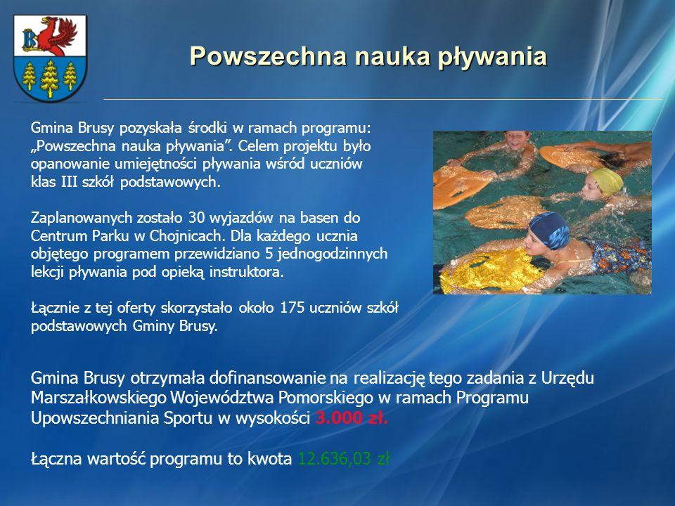 Powszechna nauka pływania Gmina Brusy otrzymała dofinansowanie na realizację tego zadania z Urzędu Marszałkowskiego Województwa Pomorskiego w ramach P
