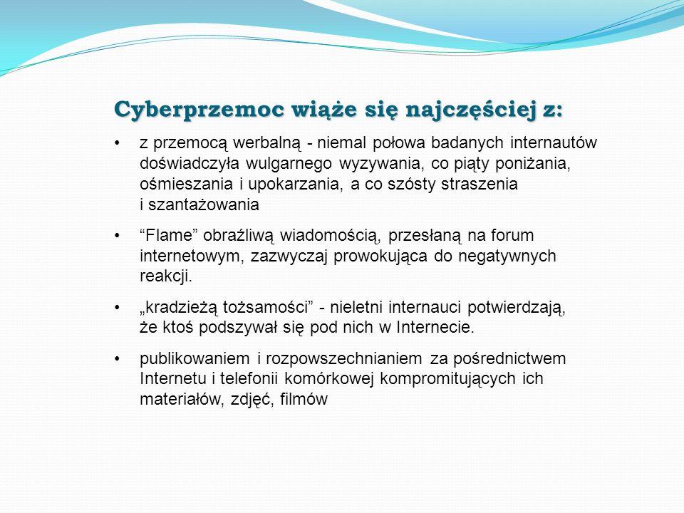 Cyberprzemoc wiąże się najczęściej z: z przemocą werbalną - niemal połowa badanych internautów doświadczyła wulgarnego wyzywania, co piąty poniżania,