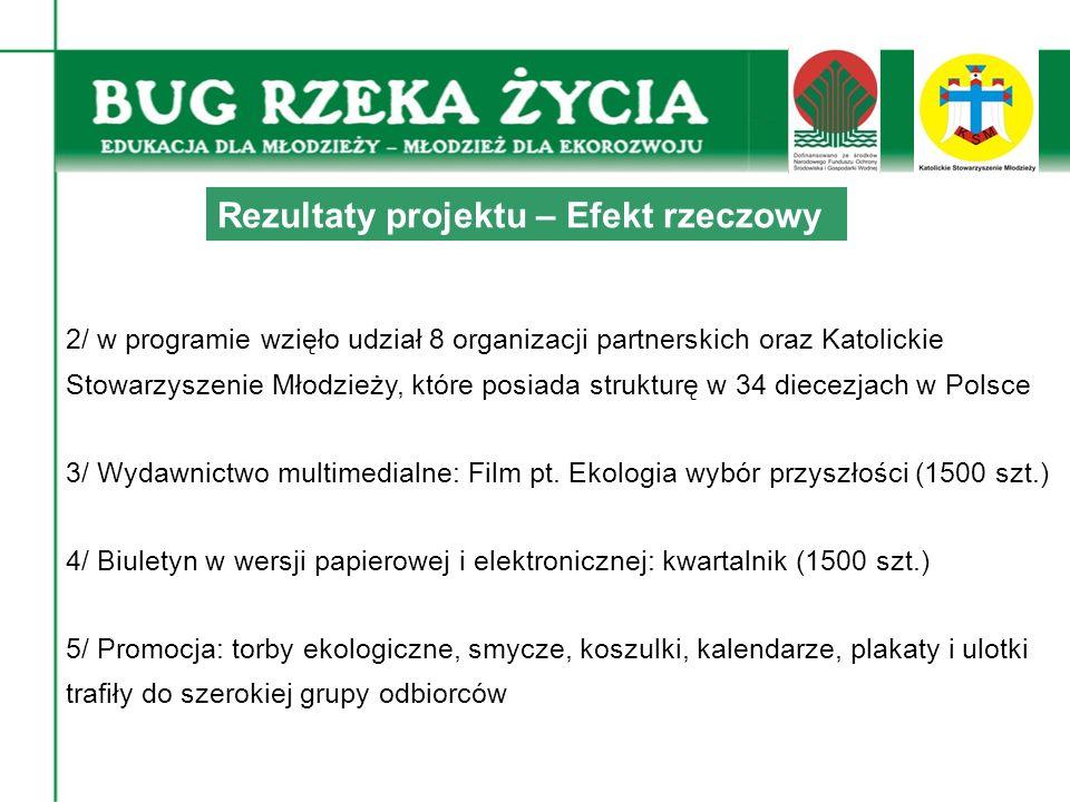 2/ w programie wzięło udział 8 organizacji partnerskich oraz Katolickie Stowarzyszenie Młodzieży, które posiada strukturę w 34 diecezjach w Polsce 3/ Wydawnictwo multimedialne: Film pt.