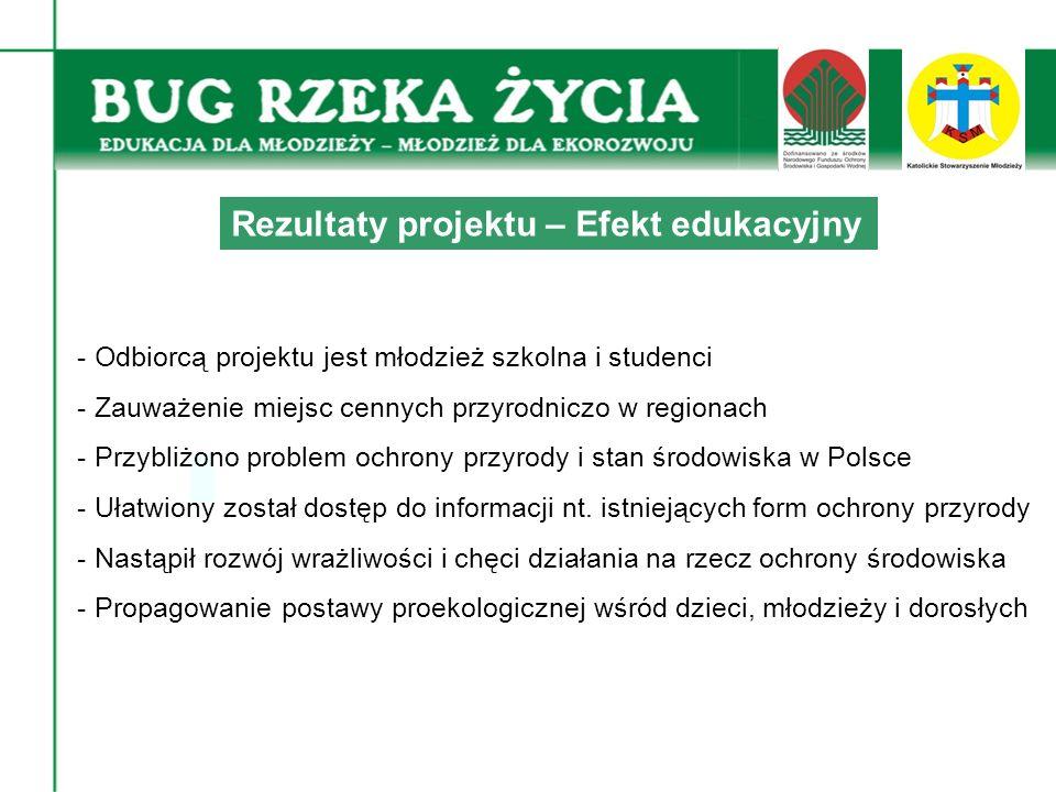 - Odbiorcą projektu jest młodzież szkolna i studenci - Zauważenie miejsc cennych przyrodniczo w regionach - Przybliżono problem ochrony przyrody i stan środowiska w Polsce - Ułatwiony został dostęp do informacji nt.