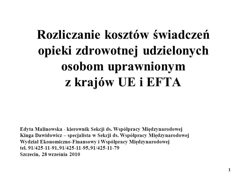 Rozliczanie kosztów świadczeń opieki zdrowotnej udzielonych osobom uprawnionym z krajów UE i EFTA Edyta Malinowska - kierownik Sekcji ds. Współpracy M