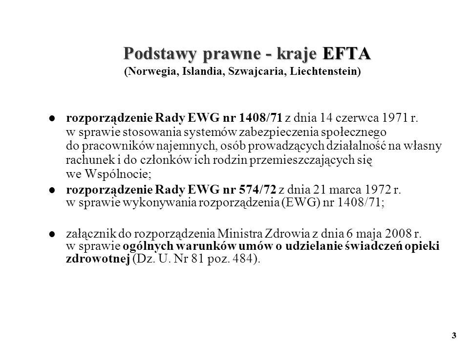 3 Podstawy prawne - kraje EFTA Podstawy prawne - kraje EFTA (Norwegia, Islandia, Szwajcaria, Liechtenstein) rozporządzenie Rady EWG nr 1408/71 z dnia