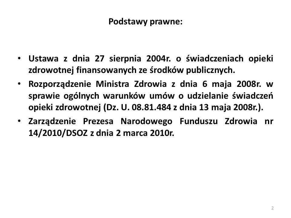 Podstawy prawne: Ustawa z dnia 27 sierpnia 2004r. o świadczeniach opieki zdrowotnej finansowanych ze środków publicznych. Rozporządzenie Ministra Zdro
