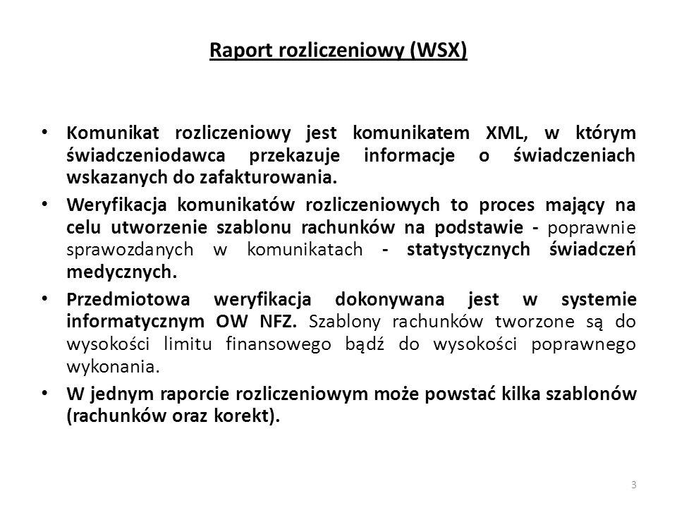 Raport rozliczeniowy (WSX) Komunikat rozliczeniowy jest komunikatem XML, w którym świadczeniodawca przekazuje informacje o świadczeniach wskazanych do