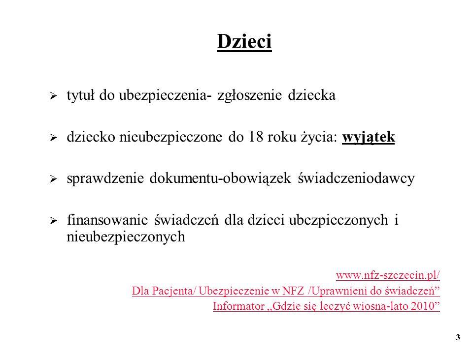 Osoby pobierające naukę do 26 roku życia - jako członkowie rodziny powyżej 26 roku życia termin pobieranie nauki- terminy www.nfz-szczecin.pl/ Dla Pacjenta/ Ubezpieczenie w NFZ /Uprawnieni do świadczeń Informator Gdzie się leczyć wiosna-lato 2010 4